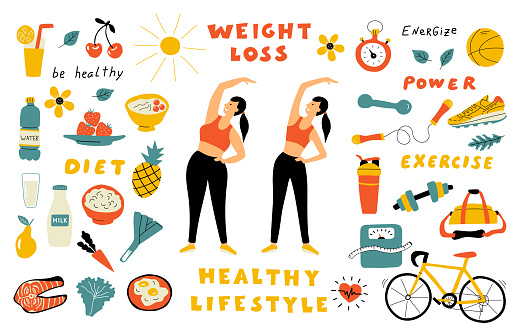 Weight loss, healthy food, cute doodle set with lettering. Cartoon woman before and after diet. Hand drawn vector flat illustration.