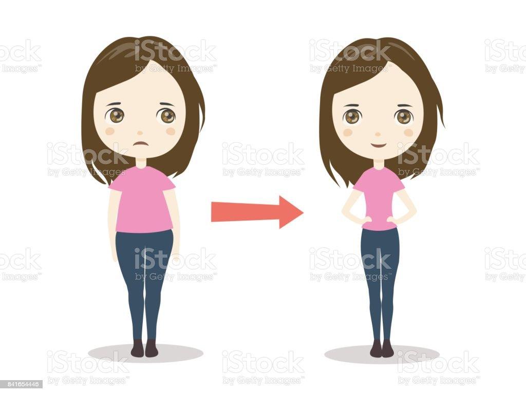 Ilustración de Ilustración De La Pérdida De Peso Con Mujer..