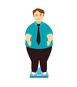 Weight loss. Overweight man on scales winks.