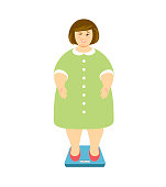 Weight loss. Overweight woman on scales and winks