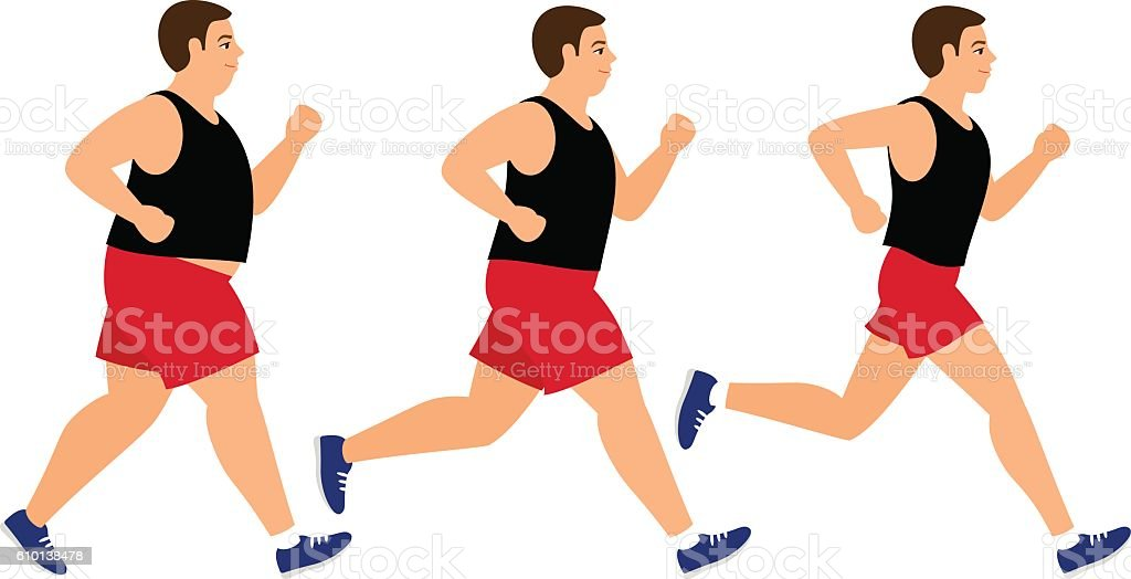 Weight loss running man vector art illustration
