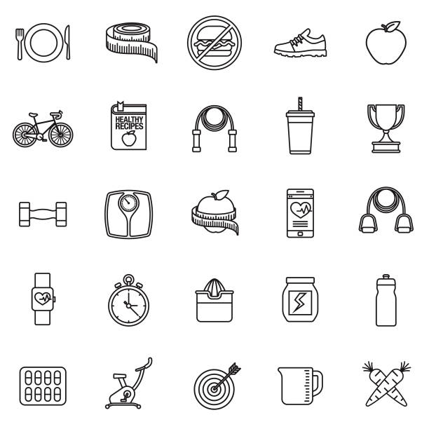 weight loss thin line icon set - thin line fonts stock illustrations