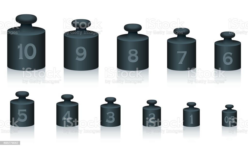 Weight masses of black iron for maths and physics, from one to ten, plus half unit - for calculating, counting and weighing - isolated vector illustration on white background. vector art illustration