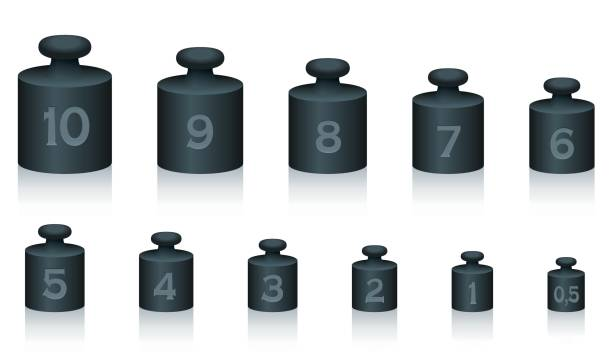 Weight masses of black iron for maths and physics, from one to ten, plus half unit - for calculating, counting and weighing - isolated vector illustration on white background. Weight masses of black iron for maths and physics, from one to ten, plus half unit - for calculating, counting and weighing - isolated vector illustration on white background. weight stock illustrations