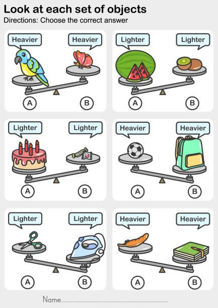 arbeitsblatt für die gewichtungsmessung – sehen sie sich jeden satz von objekten an. - wählen sie die richtige antwort. - schulbedarfskuchen stock-grafiken, -clipart, -cartoons und -symbole