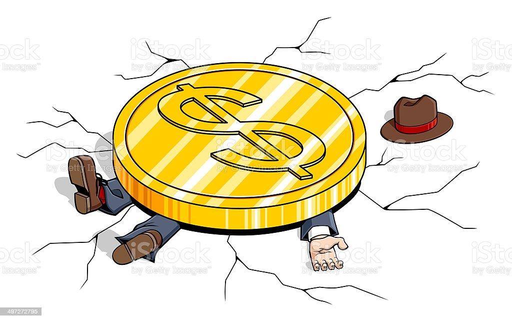 Weight of the Dollar vector art illustration