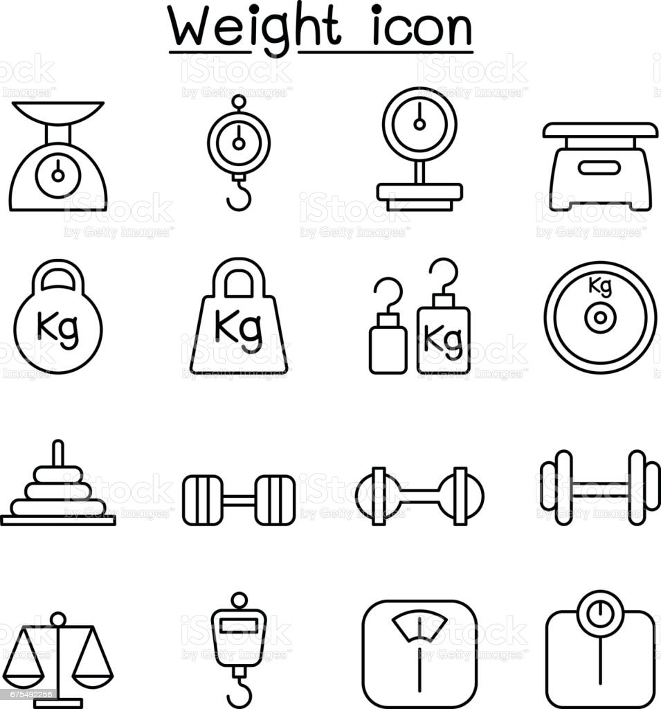 Weight, scale, balance, icon set in thin line style vector art illustration