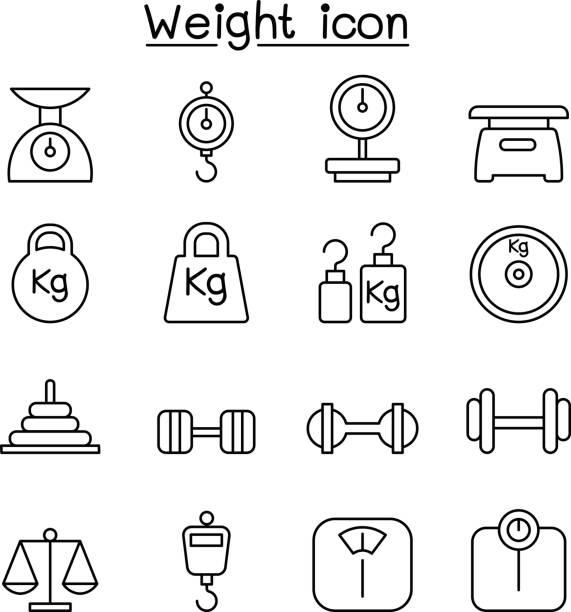 gewicht, waage, gleichgewicht, iconset in dünne linienstil - pfand stock-grafiken, -clipart, -cartoons und -symbole