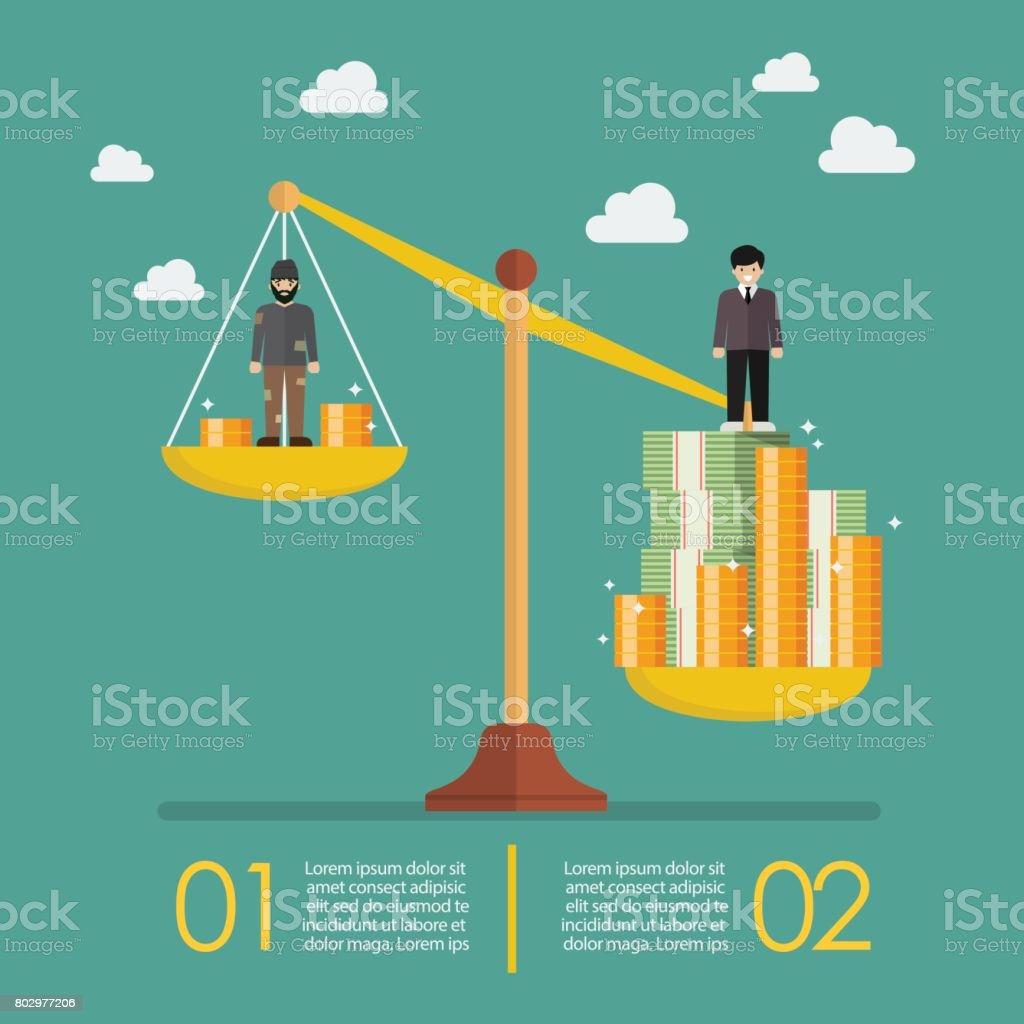 Weight scale between rich man and poor man infographic vector art illustration