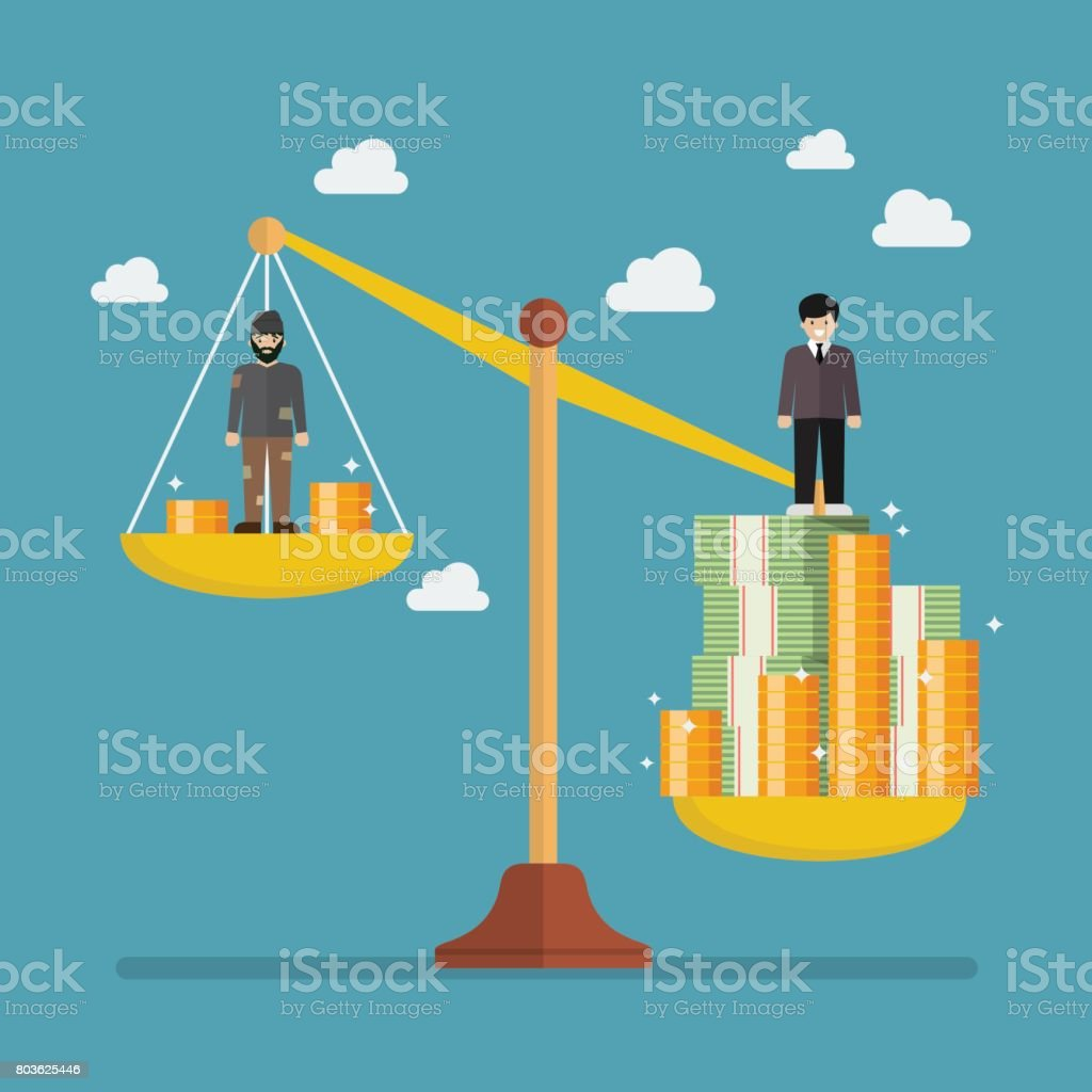 Weight scale between rich man and poor man vector art illustration