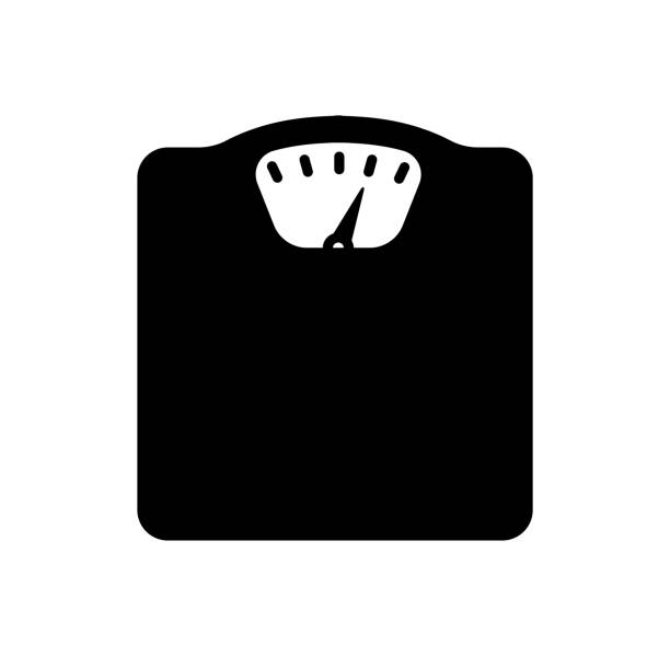 weight scale / diet / metabolic syndrome icon - waga opis fizyczny stock illustrations