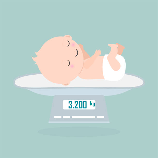 weight scale for infant icon, digital scales measure weight in kilogram - new born baby stock illustrations