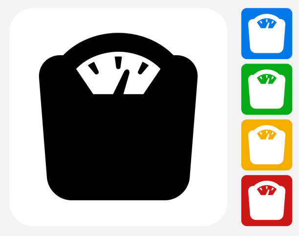 Weight Scale Icon Flat Graphic Design Weight Scale Icon. This 100% royalty free vector illustration features the main icon pictured in black inside a white square. The alternative color options in blue, green, yellow and red are on the right of the icon and are arranged in a vertical column. weight stock illustrations