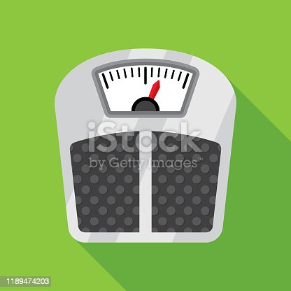 Vector illustration of a weight scale against a green background in flat style.
