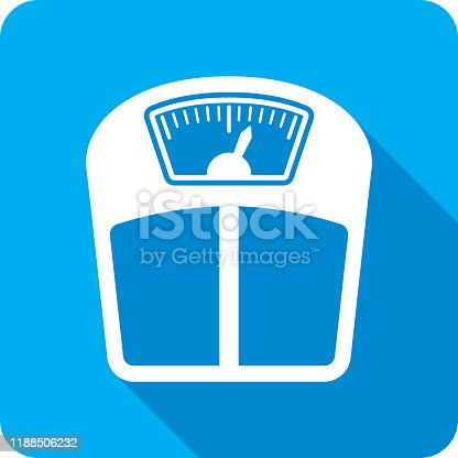 Vector illustration of a blue weight scale icon in flat style.