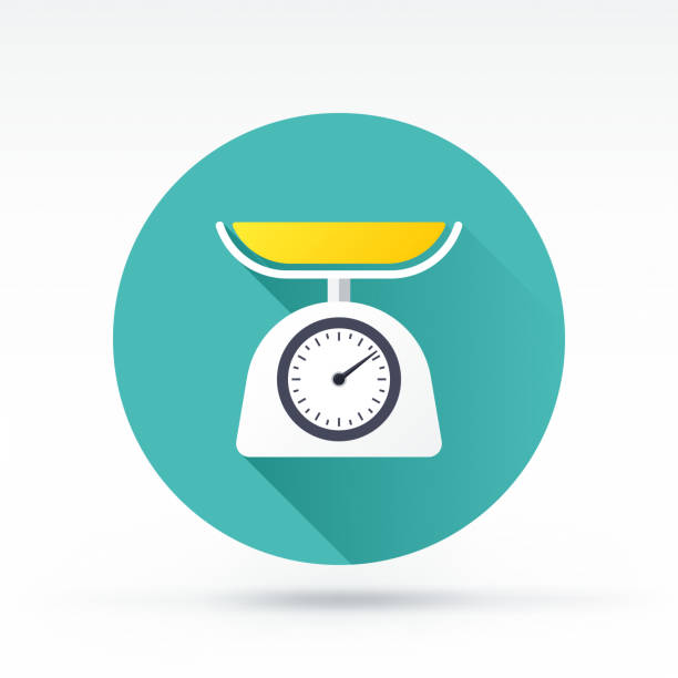 weight scale icon - waga opis fizyczny stock illustrations