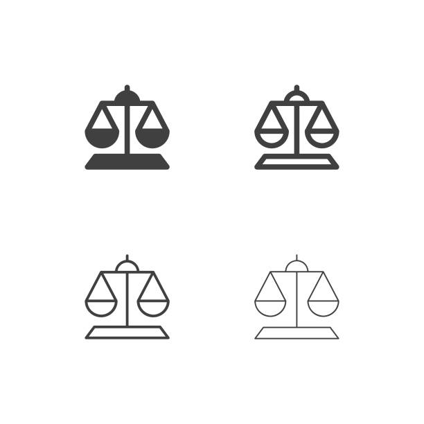 weight scale icons - multi series - waga opis fizyczny stock illustrations