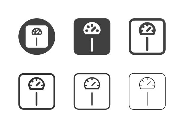 Weight Scale Icons - Multi Series vector art illustration