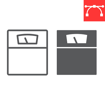 Weight scale line and glyph icon, fitness and diet, supplements sign vector graphics, editable stroke linear icon, eps 10.