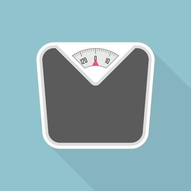 weight scale with long shadow. - waga opis fizyczny stock illustrations
