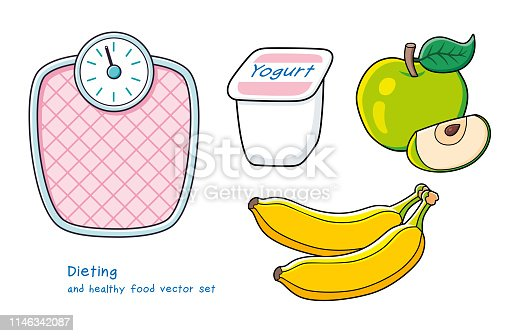 Pink weight scale, yogurt in a white plastic cup, green apple fruit with slice, two bananas isolated. Diet and healthy food vector icons.