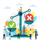 Weight scales and people weighing yes and no. Positive and negative feedback concept. Flat vector illustration.