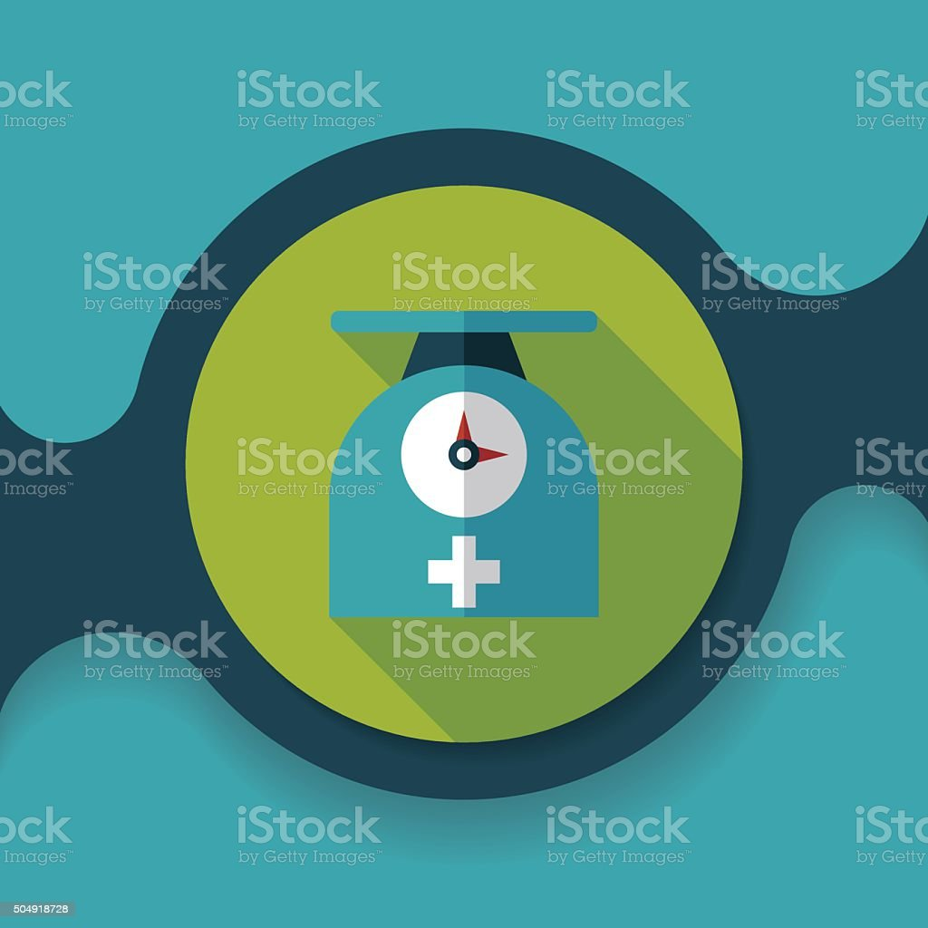 weight scales flat icon with long shadow,eps10 vector art illustration
