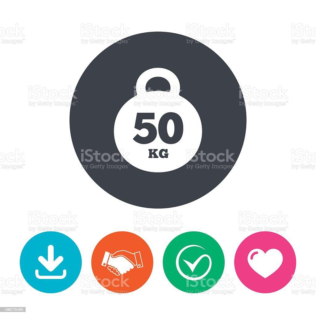 Weight Sign Icon 50 Kilogram Sport Symbol Stock Vector Art More