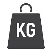 Weight symbol glyph icon, logistic and delivery, kilogram sign vector graphics, a solid pattern on a white background, eps 10.