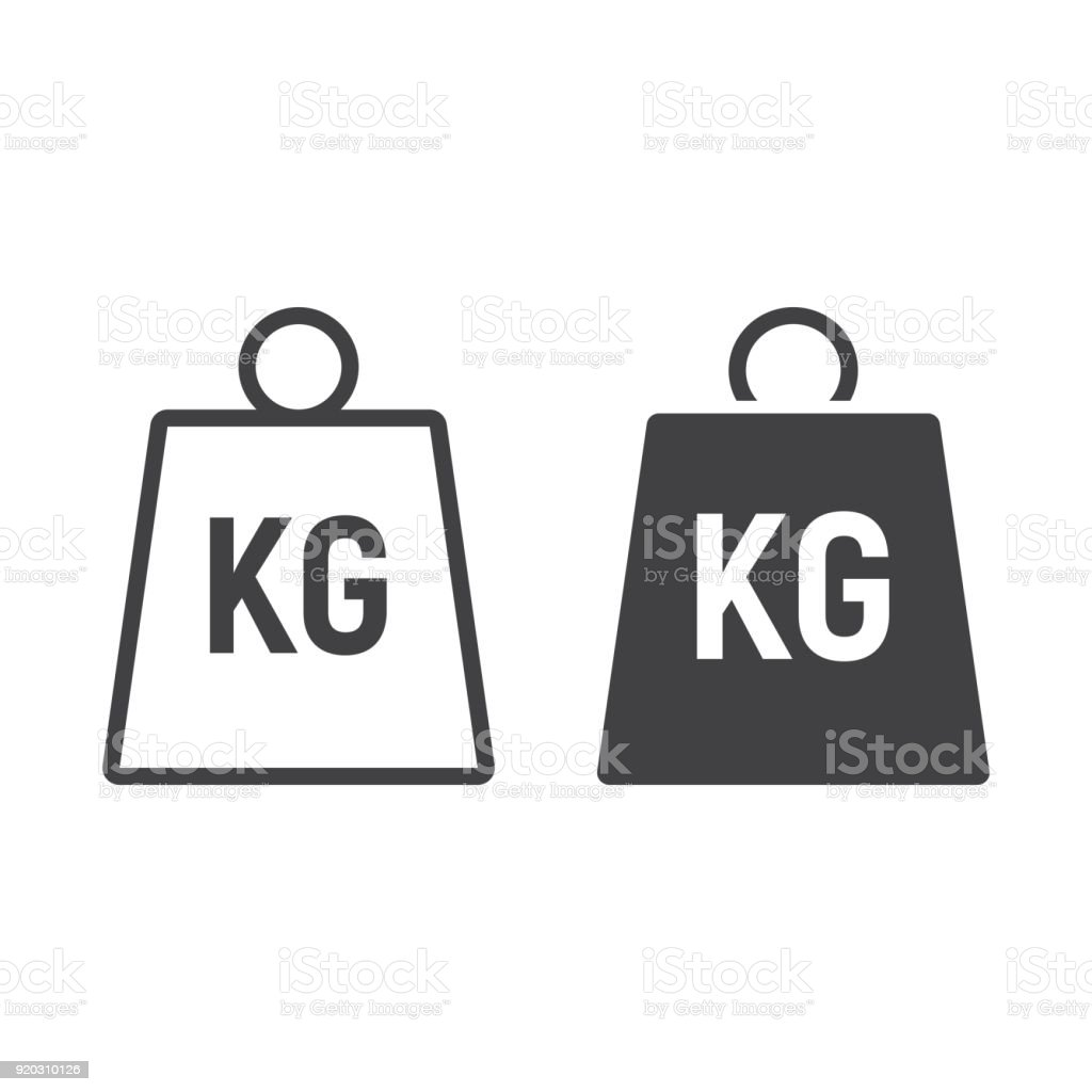Weight symbol line and glyph icon, logistic and delivery, kilogram sign vector graphics, a linear pattern on a white background, eps 10. vector art illustration