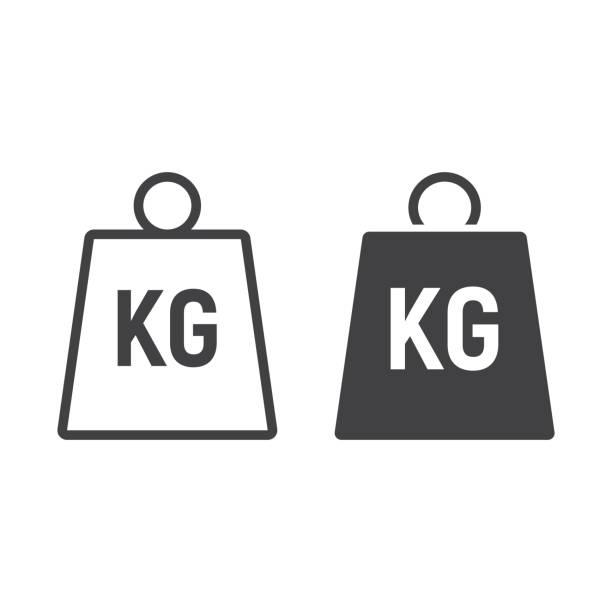 illustrazioni stock, clip art, cartoni animati e icone di tendenza di weight symbol line and glyph icon, logistic and delivery, kilogram sign vector graphics, a linear pattern on a white background, eps 10. - peso