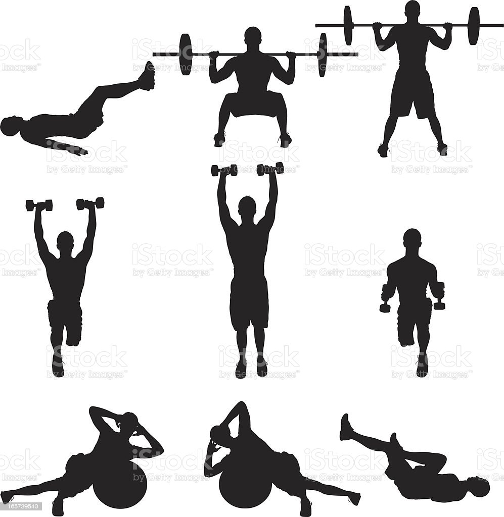 Weight training men working out vector art illustration