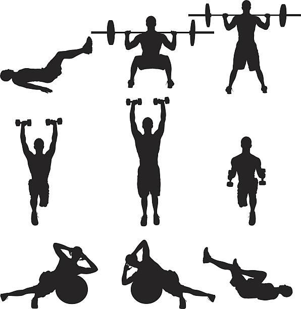 Krafttraining Männer training – Vektorgrafik