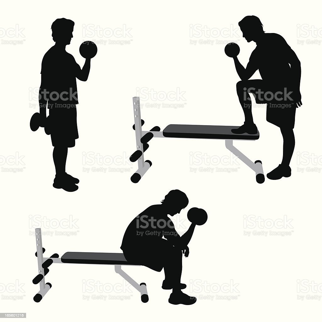 Weight Training Vector Silhouette royalty-free weight training vector silhouette stock vector art & more images of activity