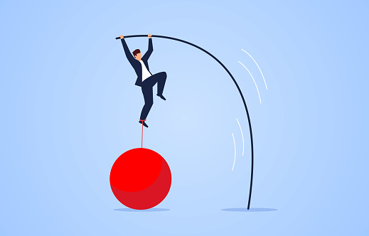Weight-bearing pole vault, pressure business concept