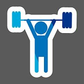 Weightlifter colored sticker. Vector icon person. Layers grouped for easy editing illustration. For your design.