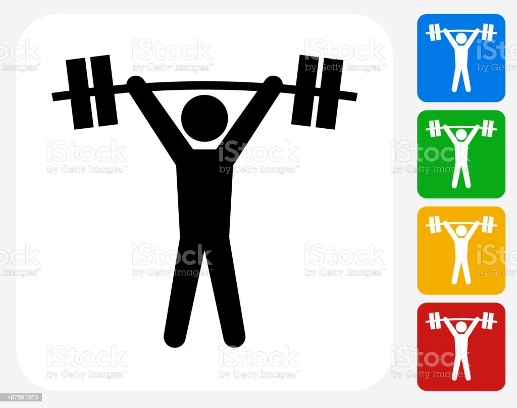Weightlifter Icon Flat Graphic Design vector art illustration
