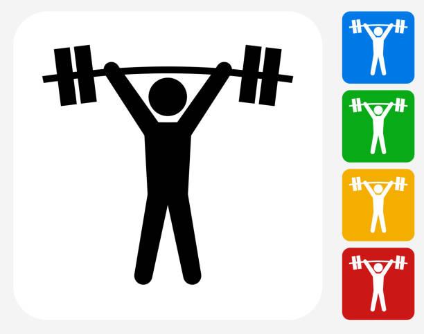 Iconos planos de diseño gráfico levantador de pesas - ilustración de arte vectorial
