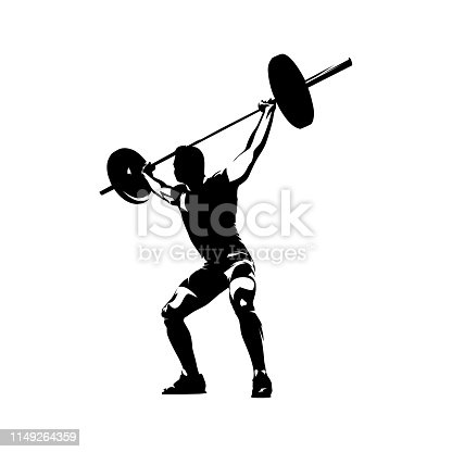 Weightlifter lifts big barbell, abstract isolated vector silhouette. Ink drawing. Fitness