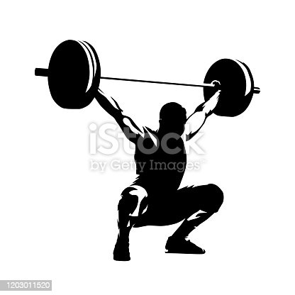 Weightlifter lifts big barbell, isolated vector silhouette, ink drawing