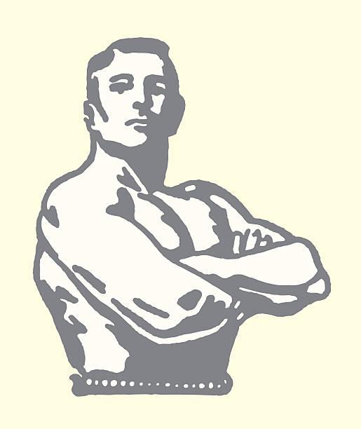 bildbanksillustrationer, clip art samt tecknat material och ikoner med weightlifter posing - strenght men