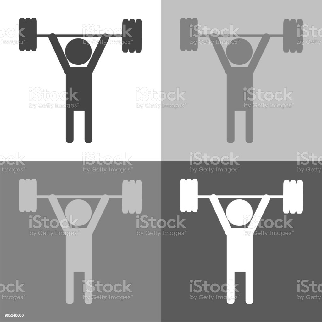 Weightlifter set. Vector icon person on white-grey-black color. vector art illustration