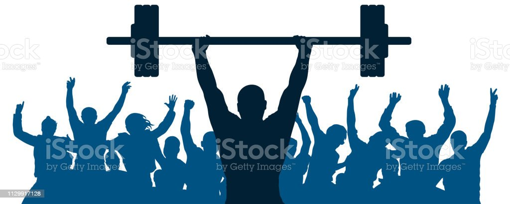 Weightlifter sport silhouette. Crowd of fans joy of victory....