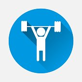 Weightlifter vector icon. Vector sportsman person with a flat shadow. Layers grouped for easy editing illustration. For your design.
