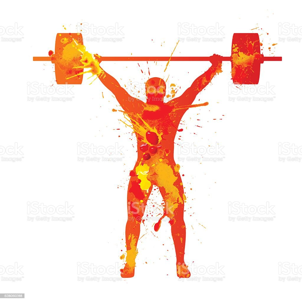 Weightlifter. Watercolor splash paint vector art illustration