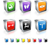 Weightlifting 3D royalty free vector icon set with Metal Rim