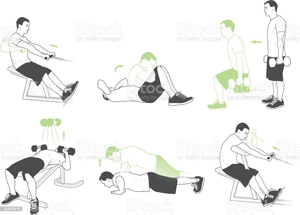 Weightlifting and exercises vector art illustration