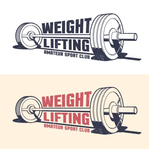 ilustraciones, imágenes clip art, dibujos animados e iconos de stock de vintage emblema de halterofilia atletismo - entrenamiento con pesas