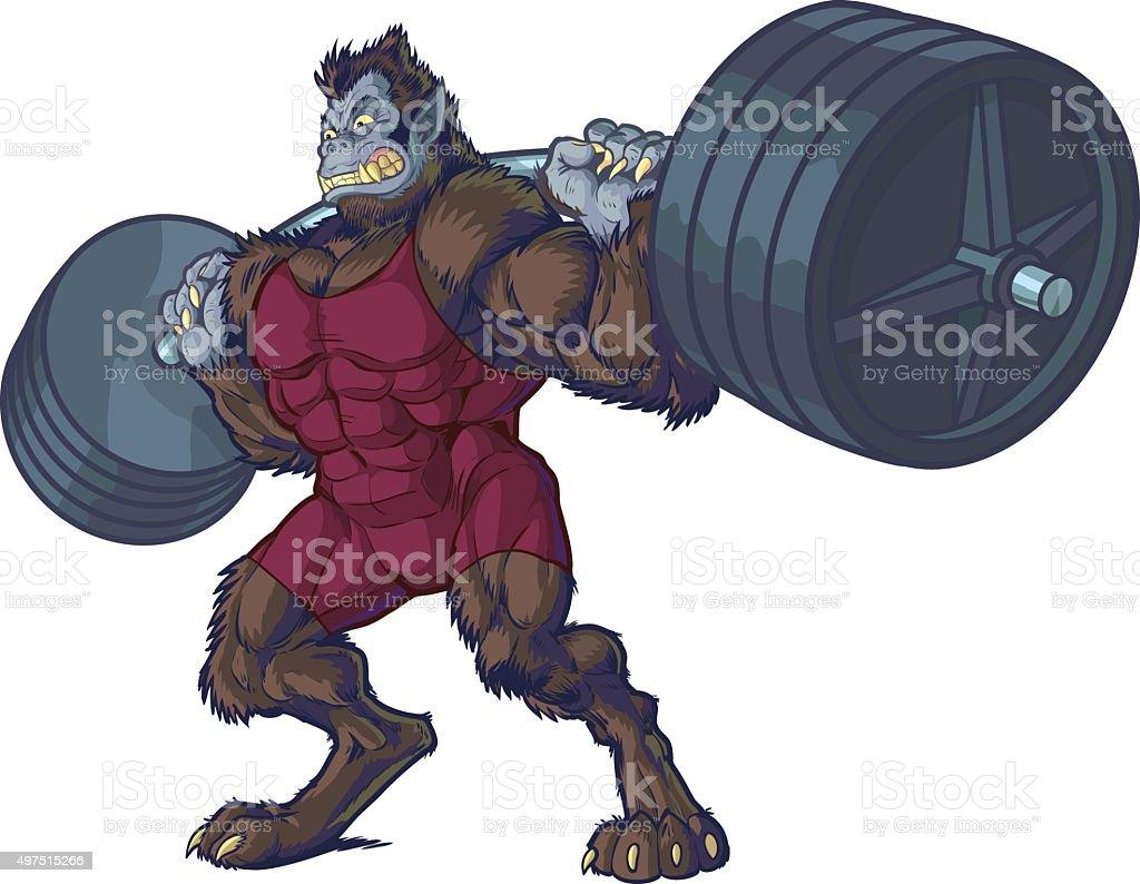 Weightlifting Beast Man Mascot Vector Illustration vector art illustration