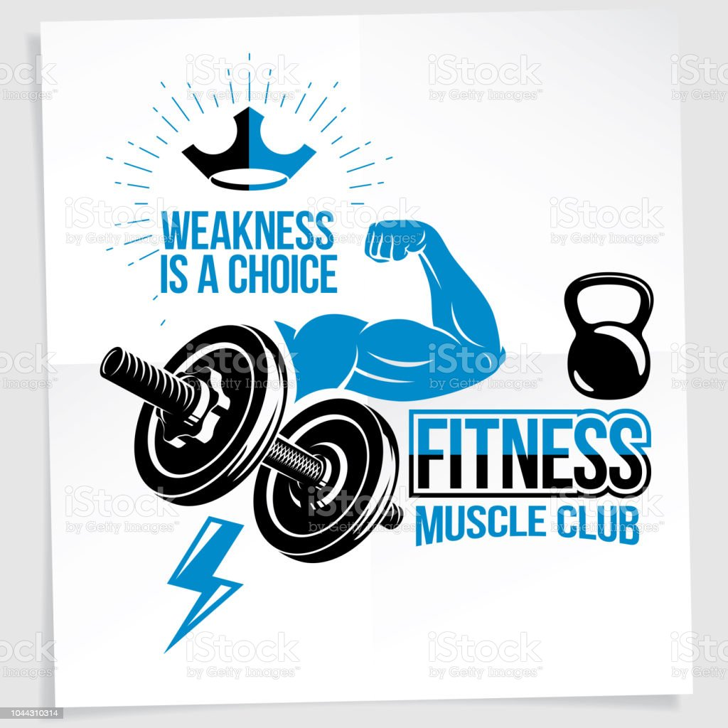 Weightlifting club promotion flyer. Vector composition created using athletic sportsman biceps arm with disc weight dumbbell and kettle bell sport equipment. Weakness is a choice lettering. vector art illustration
